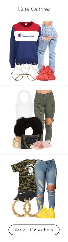 """Cute Outfites"" by miizz-starburst ❤ liked on Polyvore featuring Champion, ASOS, Retrò, NIKE, Topshop, Puma, A BATHING APE, adidas, Ralph Lauren and Forever 21"