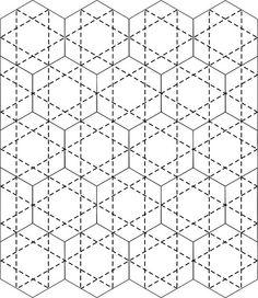 Quilting idea for Hexie quilts. Hexagon Quilt Pattern, Hexagon Patchwork, Machine Quilting Patterns, Patchwork Quilting, Quilt Patterns, Hexagon Quilting, Patchwork Tutorial, Modern Quilting, Longarm Quilting