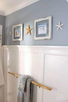 Seaside Theme Bathroom Refresh #LowesCreator   Pretty Handy Girl - Coastal bath ideas - beach room