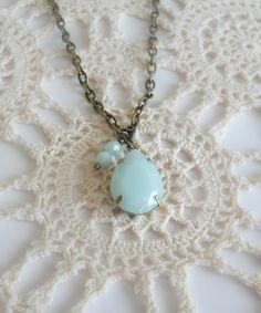 Light Blue Tear Drop Necklace