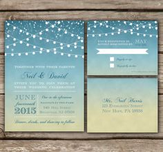 Sunset Wedding Invitation & RSVP - Printed, DIY, Rehearsal Dinner, Starry Night, String Lights, Rustic, Destination, Beach - Style #9012