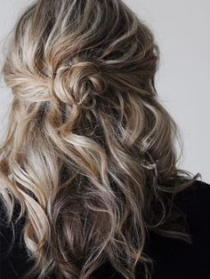 half up messy bun + beach waves