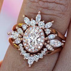 Unique Oval Moissanite with diamond Halo engagement ring set for woman, Moissanite wedding three ring set, art deco jewelry, bridal ring set #CrownRing #HaloEngagementRing #GoldRingsForWomen #BridalRingsSet #EngagementRing #WeddingRingsSet #ThreeRingsSet #RoseGoldRing #OvalHaloRing #EngagementRingsSet Halo Diamond Engagement Ring, Engagement Ring Settings, Three Rings, Art Deco Jewelry, Beaded Jewelry, Oval Diamond, Bridal Rings, Unique Rings, Moissanite