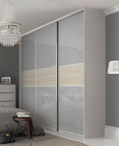 Premium Midi Fineline Light Grey / Cape Elm doors & Premium Midi 3 panel fineline panel sliding wardrobe doors in Grey ... pezcame.com