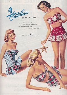 Playful, gorgeous bathing suits from Vintage Catalina swimwear ad. Moda Vintage, Pin Up Vintage, Moda Retro, Looks Vintage, Vintage Beauty, Vintage Ads, 1940s Fashion, Cute Fashion, Vintage Fashion