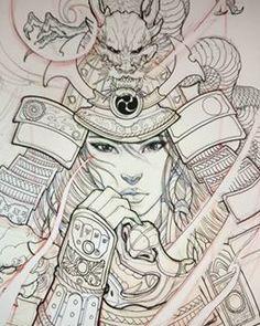 Risultato immagine per Japanese Geisha Tattoo Drawings Female Samurai Tattoo, Samurai Drawing, Samurai Artwork, Geisha Drawing, Japanese Drawing, Japanese Tattoo Art, Japanese Tattoo Designs, Japanese Tattoo Samurai, Japanese Tattoo Women