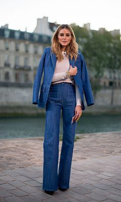 Olivia Palermo looked effortlessly stylish wearing denim pants and a coordinating blazer by Paul and Joe before the label's show during Paris Fashion Week SS17.