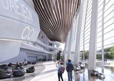 Architecture Mapping, Hotel Architecture, Landscape Architecture Design, School Architecture, Lobby Interior, Interior Design, Lobby Design, Convention Centre, Atrium