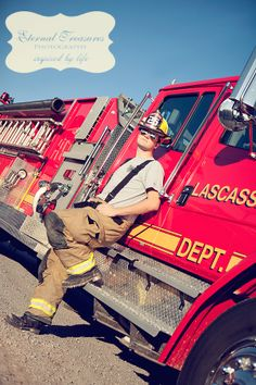 Firefighter senior photo | Shared by LION.... But standing in front of the Fire Dept.