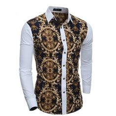 Cheap camisa masculina, Buy Quality chemise fashion directly from China designer chemise Suppliers: 2017 New Fashion Men Slim Turn-Down Collar Print Design Color Patchwork Casual Long-Sleeved Shirt Chemise Camisa Masculina Slim Fit Dress Shirts, Slim Fit Dresses, Fitted Dress Shirts, Dress Tops, Shirts & Tops, Casual Shirts, Men Shirts, African Men Fashion, Mens Fashion