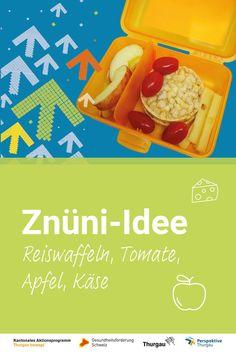 #Znüni #gesunde Ernährung Wir zeigen dir, was du deinem Kind im April in die Znünibox packen kannst. Schau dir die Video-Anleitung an oder lies unsere Schritt-für-Schritt-Anleitung. Du benötigst folgende Materialien und Zutaten: Cherrytomaten, Apfel, Reiswaffeln, Käse, Messer, Schneidebrett. Schritte:  1. Rinde vom Käse entfernen 2. Käse in Streifen schneiden 3.Apfel halbieren und in Schnitze schneiden 4. Kerngehäuse entfernen 5. Znünibox füllen 6. Fertig ist das Znüni Snack Recipes, Snacks, Chips, Bread, Food, Kid Cooking, Healthy Food, Healthy Recipes, Health