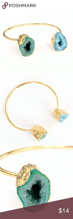 """Gold-plated druzy geode bangle bracelet A truly incredible piece!  Natural beauty meets a chic and modern design in this gold-plated stunner!  Two genuine druzy geode halves perch atop your wrist for a unique look sure to attract loads of attention and compliments!    You're not going to be able to stop looking at this, I promise!  Nickel and lead free.  Can bend slightly to adjust for a custom fit.  PRICE IS FIRM and extremely reasonable, but click """"add to bundle"""" to save 10% on your…"""