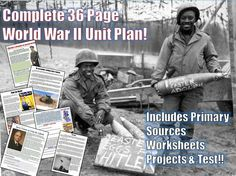 An amazing, all-encompassing 36-page bundle of resources to teach all about World War II. It includes all the fantastic printables, readings, worksheets and test that you would need to teach your students about the war! All based on state and Common Core Standards! Only $7.99 from our store!