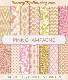 Pink and Gold Glitter Bokeh Digital Paper - Blush Wedding Damask Flourish Chevron Champagne Bubble Love Pattern Valentine Heart Background by HoneyClipArt on Etsy https://www.etsy.com/listing/190250879/pink-and-gold-glitter-bokeh-digital