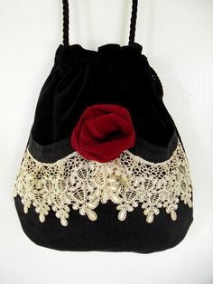 Victorian Bag Rose and Lace Mori Girl Black by piperscrossing