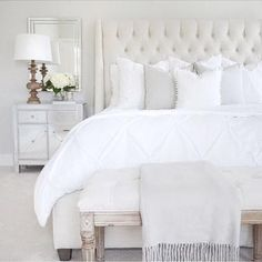 Bedroom details mirrored furniture nightstand arhaus tufted bed  white bedding tufted linen bench Benjamin Moore classic gray target lamp http://liketk.it/2qaeV @liketoknow.it #liketkit