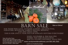 Don't miss the Carolyn Westbrook Barn Sale this Saturday at The Oaks Plantation from 9aqm-2pm. Check our website for more details at www.carolynwestbrookhome.com.