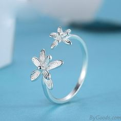 Double Flowers Fresh Adjustable Opening Sterling Silver Ring  only $12.99 in ByGoods.com!