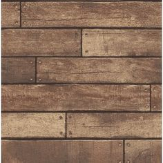 Brewster Home Fashions Essentials Weathered Nailhead Plank x Wood Wallpaper Roll Color: Brown Wood Plank Wallpaper, Look Wallpaper, Brick Wallpaper Roll, Embossed Wallpaper, Wallpaper Panels, Wallpaper Samples, Brown Wallpaper, Wood Effect Wallpaper, Rustic Wallpaper