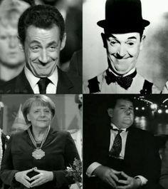 Laurel, Hardy, Sarkozy und Merkel