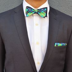 Silk Bow Tie  i know pocket squares and ties shouldn't match… but i like bold obvious matches like this. - oc