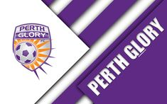 Download wallpapers Perth Glory FC, 4k, Australian Football Club, material design, logo, purple white abstraction, A-League, Perth, Australia, emblem, football