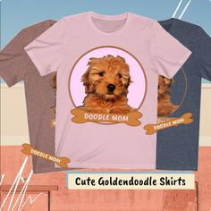 "Can't get enough of cute Goldendoodles? Wear this Tee to show your ""Doodle Mom"" love.. Makes a great gift for any Goldendoodle pet lover. #Goldendoodle Mini Goldendoodle, Goldendoodles, Dog Mom Shirt, Mom Shirts, Graphic Tee Shirts, Funny Tees, Colorful Shirts, Group, Pets"