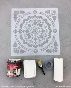 How to Stencil & Paint a Concrete Patio Floor - DIY Outdoor Decorating – Royal Design Studio Stencils Stenciled Concrete Floor, Painted Concrete Floors, How To Paint Concrete, Painting Concrete Porch, Cement Patio, Colored Concrete Patio, Outdoor Tiles, Outdoor Decor, Outdoor Lighting