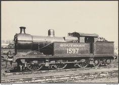 "Southern Railway No 1597 - J Arthur Dixon Postcard "" Southern Trains, Vintage Trains, Steam Railway, Southern Railways, Postcards For Sale, Train Art, British Rail, Steam Engine, Steam Locomotive"