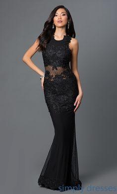 Open Back Long Black Lace Illusion Formal Dress CQ-3937DK