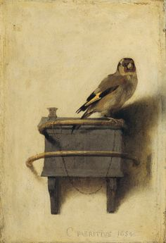 Carel Fabritius The Goldfinch Painting 1654 Carel Fabritius was a Dutch painter and one of Rembrandt's most gifted pupils. The Goldfinch depicts Fabritius' use of cool colour harmonies, delicate lighting effects, and a light. Johannes Vermeer, Art And Illustration, Painting Prints, Painting & Drawing, Art Prints, Art Du Temps, Dutch Painters, Dutch Artists, Famous Artists