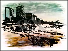 Waikiki beach | Original artwork | Fine-liner & acrylic paint on fabriano paper