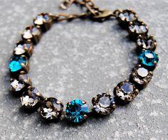 Teal Beige Rhinestone Tennis Bracelet Swarovski Crystal Peacock Blue Greige Bracelet Teal Bridesmaid Mashugana