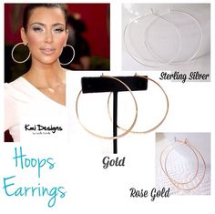 Hoops Earrings   Rose Gold, Gold And sterling silver www.camilaestrella.etsy.com