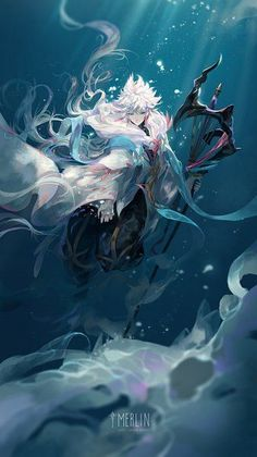 Water n' boy with white hair Fate Stay Night, Manga Boy, Anime Boys, Merlin, Fantasy Characters, Anime Characters, 1440x2560 Wallpaper, Character Art, Character Design
