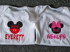 Personalized Lil Bro or Lil Sis Minnie Mouse by TheChildrensCorner, $10.00