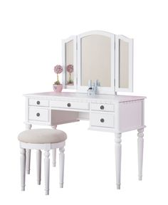 "Croix Collection Vanity Set with Stool, White A fluid design of feminine accents and allure, the ""St. Croix"" vanity set collections comes in a variety of wood finished colors. Description from ebay.com. I searched for this on bing.com/images"