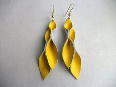 Petal Collection  Bright Yellow Leather Earrings by HaKNiK on Etsy, $18.00