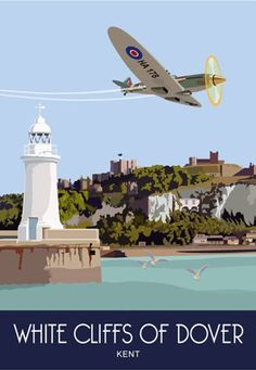 Railway Poster of a Spitfire flying over dover Castle and Harbour Places To Travel, Travel Destinations, Dover Castle, White Cliffs Of Dover, Lighthouse Art, Railway Posters, Poster Ads, Vintage Travel Posters, Great Places