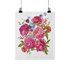 Those who truly love floral wall art understand the appeal of Hyacinth wall decor. It is easy to hang and can work in many different rooms. HouseDecor Shabby Chic,Canvas Painting Gentle Summer Flora Hyacinths BlackBerry and Peonies
