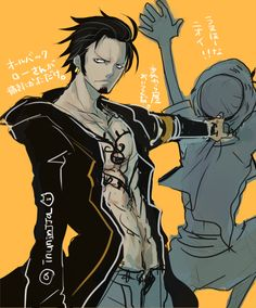 Trafalgar D. Water Law and Monkey D. Luffy One piece art yellow