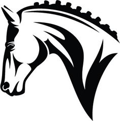 English style horse head decal. Approx 5 across. Available in white or black.