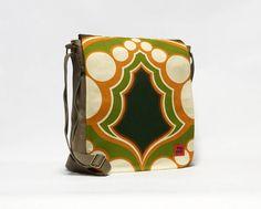Vintage Fabric Messenger Bag, 70s Crossbody bag, Retro Shoulder bag, upcycled canvas bag by EllaOsix on Etsy #vintagefabric #messengerbag #crossbodybag #retrobag #70sbag #70sstyle