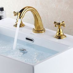 Modern 3 Hole 2 Handle Bathroom Basin Mixer Sink Tap Faucet in Gold Finished Bathroom Mixer Taps, Steam Showers Bathroom, Bathroom Sink Faucets, Taps Bath, Plating Techniques, Modern Sink, Basin Mixer Taps, Plumbing Fixtures, Style Vintage