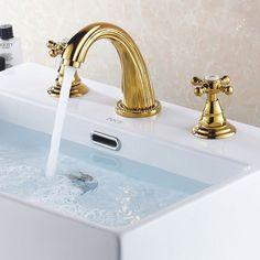 Modern 3 Hole 2 Handle Bathroom Basin Mixer Sink Tap Faucet in Gold Finished Bathroom Basin Mixer Taps, Basin Taps, Bathroom Sinks, Master Bathroom, Taps Bath, Bathroom Ideas, Light Bathroom, Bathroom Fixtures, Modern Sink
