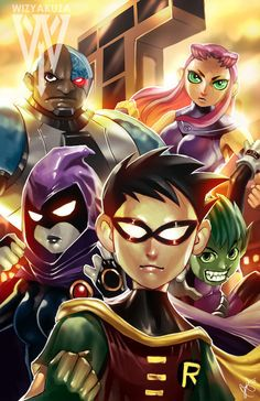 Teen Titans  DC Comics  11 x 17 Digital Print by Wizyakuza on Etsy