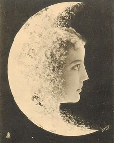 woman's face to right of moon, faces & looks right, fantasy composition 1902 postcard. Moon Face, Faces Of Moon, Moon Photos, Sun Moon Stars, Paper Moon, Moon Magic, Beautiful Moon, Moon Goddess, Moon Child