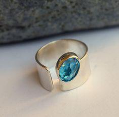 Topacio Azul Suiza anillo plata tamaño 5 a 6 1/2 por meltemsem