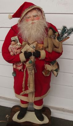 Handmade Santa Claus-Toys~Doll & Teddy Bear By Kim Sweet~Kim's Klaus-Huge 33 inch Standing Santa on a Wooden Pull Toy-Dressed in Red Flannel