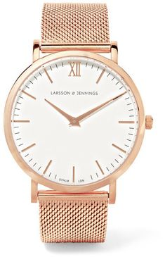 Designed with a lightweight stainless steel strap, Larsson & Jennings' rose gold-plated watch is part of the label's 'Chain Metal' series. The white enamel dial is detailed with a single set of Roman numerals and is powered by precise Swiss quartz movement.